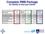 complete pmb package for family of four per month