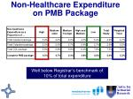 non healthcare expenditure on pmb package