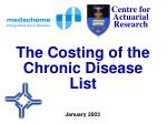 the costing of the chronic disease list