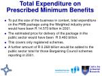 total expenditure on prescribed minimum benefits