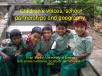 children s voices school partnerships and geography