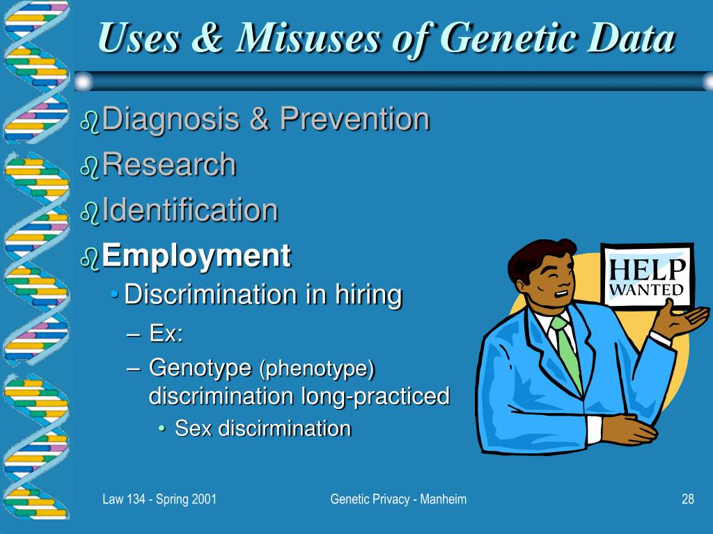 genetic discrimination essay The genetic information nondiscrimination act of 2008 (publ 110–233, 122 stat 881, enacted may 21, 2008, gina, pronounced jee-na), is an act of congress in the united states designed to prohibit some types of genetic discrimination.
