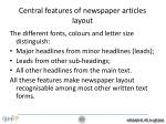 central features of newspaper articles layout
