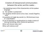 creation of interpersonal communication between the writer and the reader