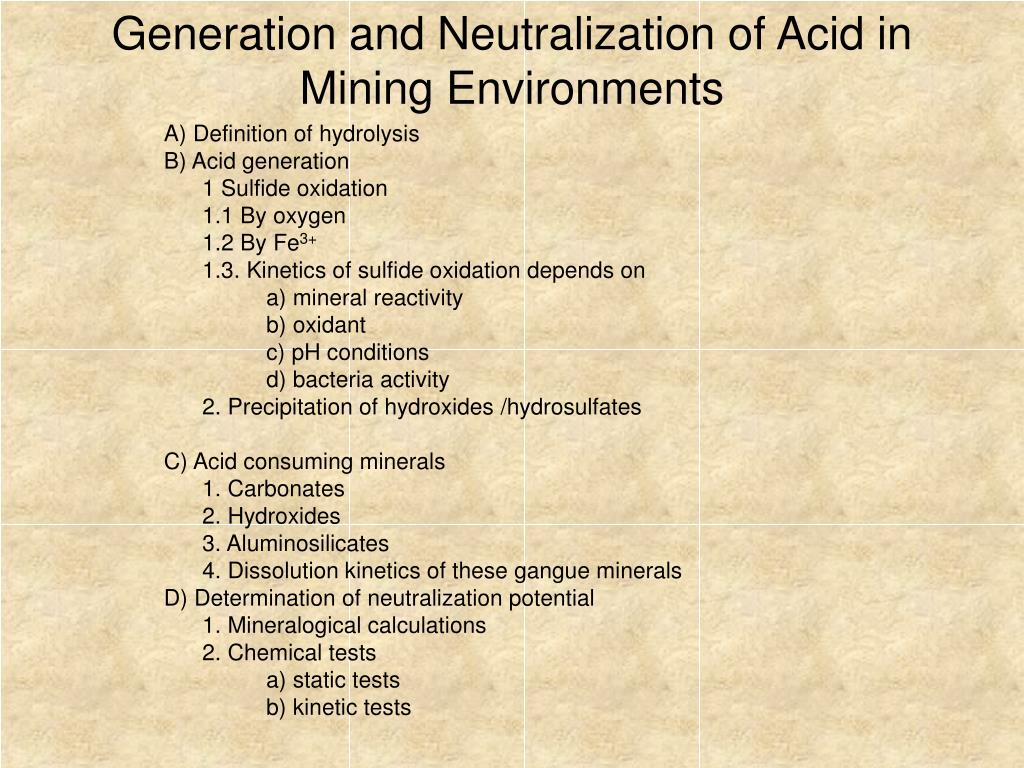 generation and neutralization of acid in mining environments l.