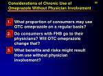 considerations of chronic use of omeprazole without physician involvement