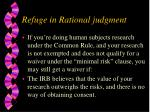 refuge in rational judgment