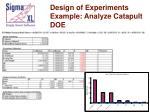 design of experiments example analyze catapult doe