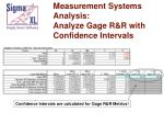 measurement systems analysis analyze gage r r with confidence intervals