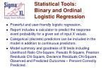 statistical tools binary and ordinal logistic regression
