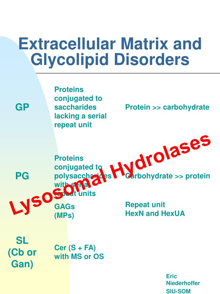 extracellular matrix and glycolipid disorders n.