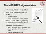 the msr rte2 alignment data