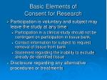basic elements of consent for research