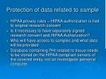protection of data related to sample