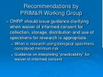 recommendations by prim r working group