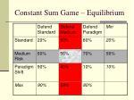 constant sum game equilibrium
