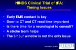 ninds clinical trial of tpa timing issues