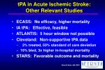 tpa in acute ischemic stroke other relevant studies