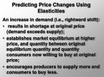 predicting price changes using elasticities