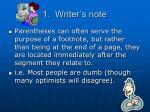 1 writer s note