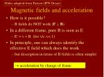 magnetic fields and acceleration