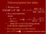universal power law index