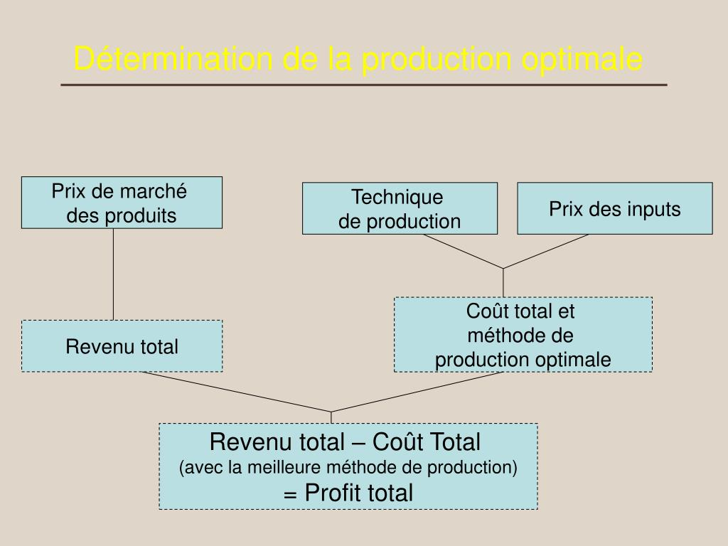 d termination de la production optimale l.