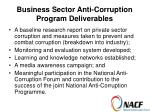 business sector anti corruption program deliverables