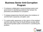 business sector anti corruption program