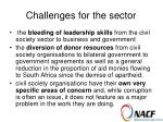 challenges for the sector