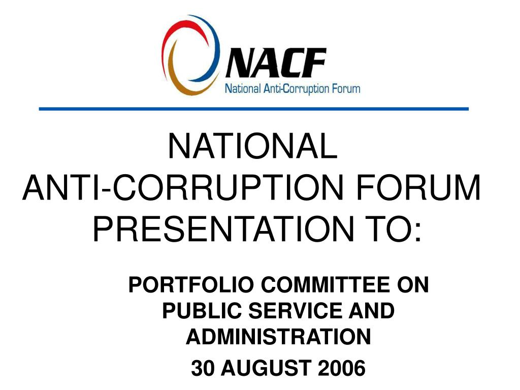 national anti corruption forum presentation to l.