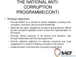 the national anti corruption programme cont