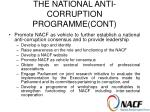 the national anti corruption programme cont9
