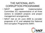 the national anti corruption programme