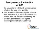 transparency south africa t sa