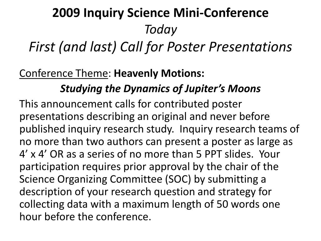 2009 Inquiry Science Mini-Conference