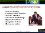 assessing innovative environments