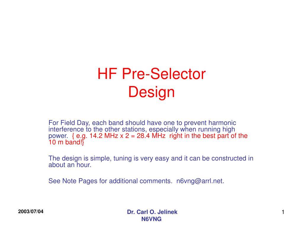 hf pre selector design l.