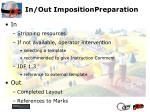 in out impositionpreparation