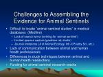 challenges to assembling the evidence for animal sentinels