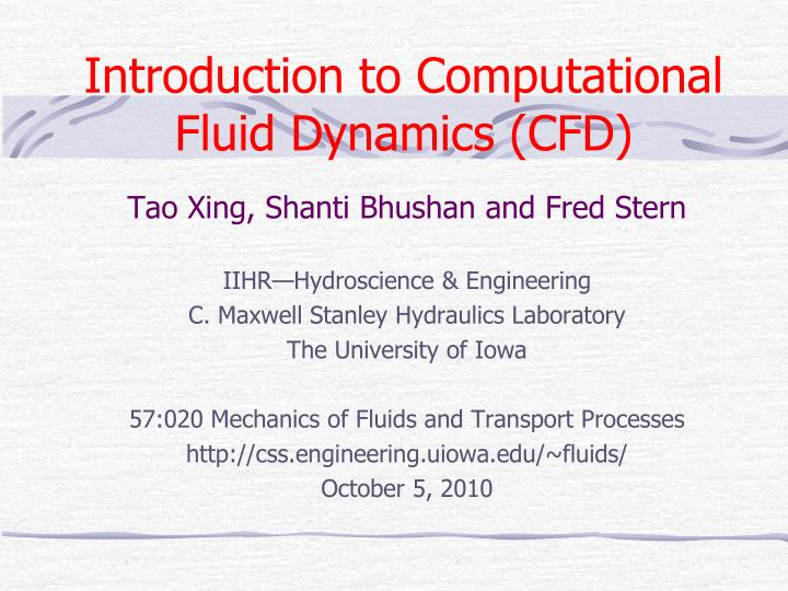 introduction to computational fluid dynamics cfd n.