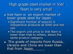high grade steel market in viet nam is very small