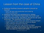 lesson from the case of china