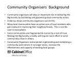 community organisers background
