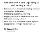 how does community organising fit with existing activity