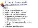 a two day lesson model used by mary modene in belleville
