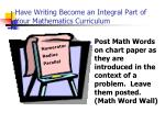 have writing become an integral part of your mathematics curriculum