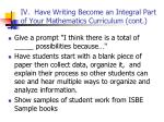 iv have writing become an integral part of your mathematics curriculum cont45