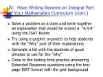 iv have writing become an integral part of your mathematics curriculum cont48