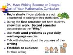 iv have writing become an integral part of your mathematics curriculum